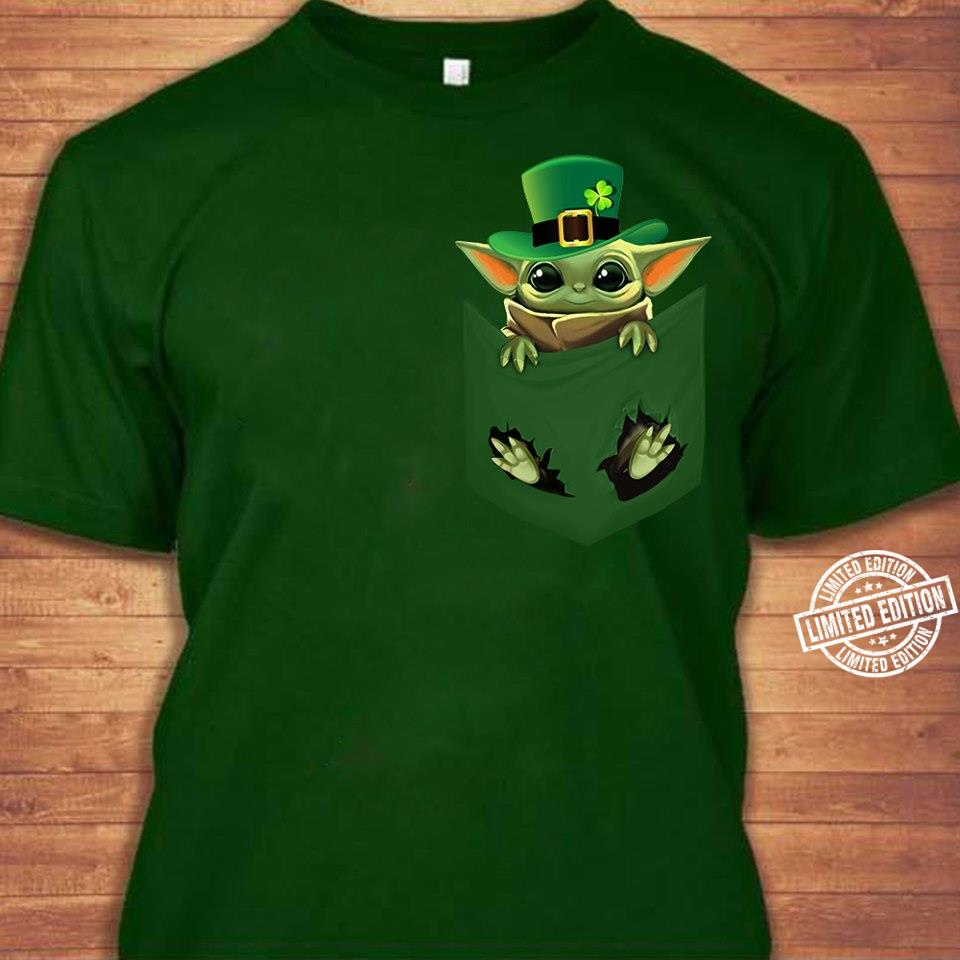 Baby Yoda in pocket st patrick's day shirt