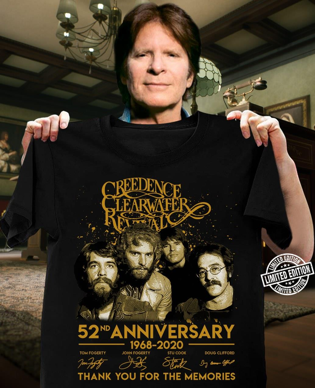 Creedence clearwater revival 52nd anniversary 1968-2020 thank you for the memories shirt