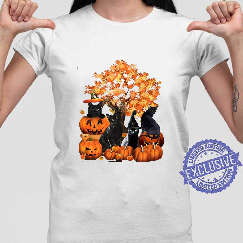 Four cats halloween shirt ladies tee