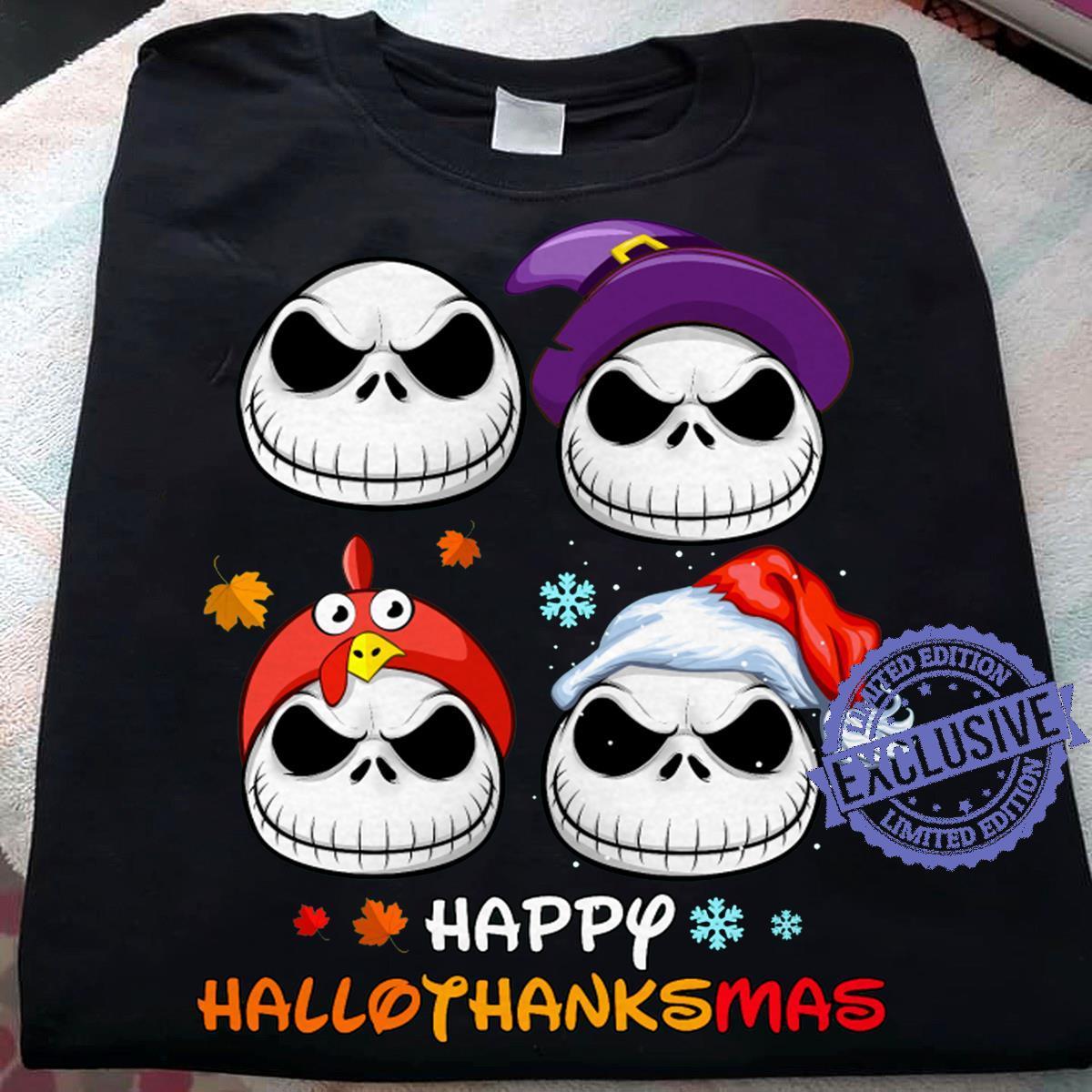 Skellington Happy hallothanksmas shirt