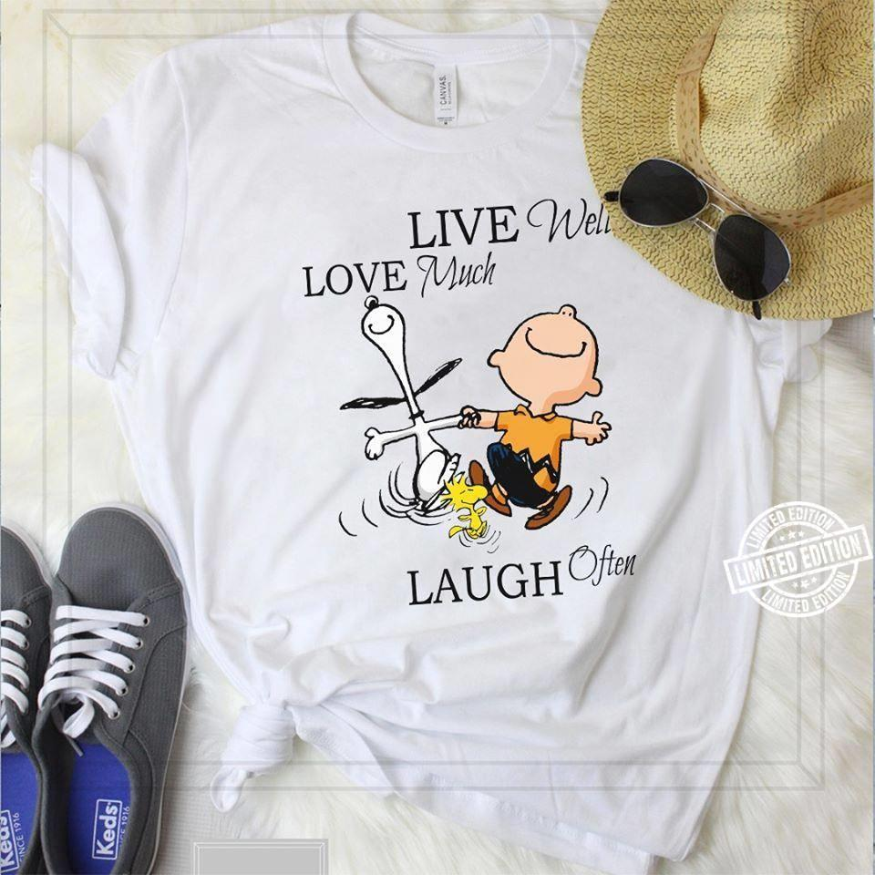 Snoopy Charlie Brown and Woodstock Live Well Love Much Laugh Often shirt