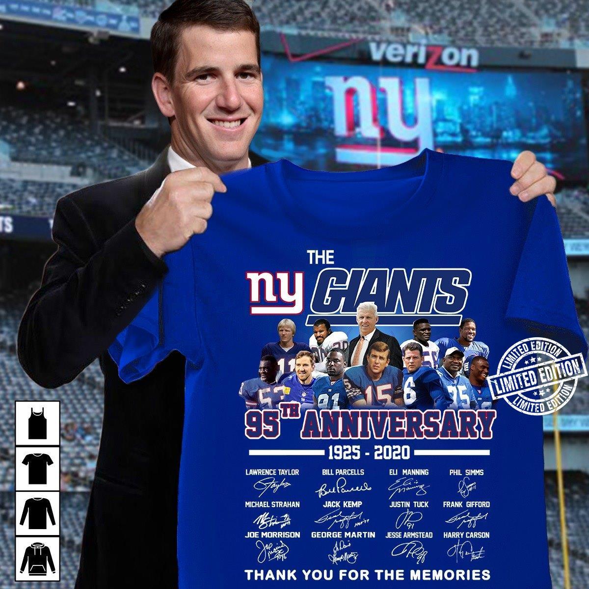 The ny giants 95th anniversary 1925-2020 signature shirt